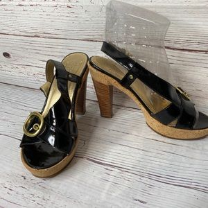 Coach Black Strap Size 7 Cork Wood Heel